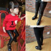 [retail] hot sale girls 2014 winter fashion PU patchwork fleece pants kids skinny leggings 412