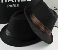 Fashion black small fedoras female autumn and winter fashion jazz hat male women's lovers outdoor casual cap