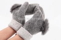 Quality 100% Wool and Rabbit Fur Women's Gloves Mitten Fashion Wrist Warm Winter Hand Wrist Gloves