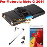 New Slim Belt Clip Case Mobile Phone Case + Screen Protector + Touch Pen For Motorola Moto G (2014) (2nd Gen.)Moto G2 Moto G+1