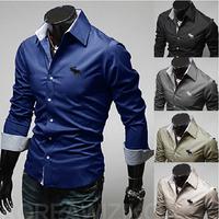 2014 fashion large size men's casual shirt, solid color long sleeve shirt men M-4XL