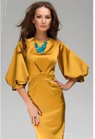 hot sale 2014 summer and autumn new women fashion round neck dress lantern sleeve chiffon dress bohemian style
