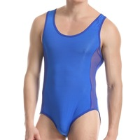 sexy Men's Conjoined shapers  Transparent mesh Gym Body Shaper Men Underwear Mens Bodysuits