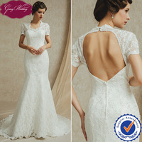 Goingwedding Short Sleeves Sweetheart Neck Lace Mermaid Romantic Sexy Open Back Wedding Dress With Removable Bow On Back FG14914