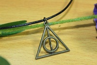 Hot movie deathly hallows metal necklace pendant as gifts for harry potter Triangle necklace