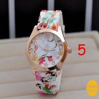 Hot Fashion Wristwatch Silicone Printed Flower Casual Watch For Ladies Quartz Watches Women Dress Watch New 2014 Promotions