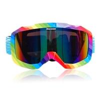 Ski Snowboard Snowmobile Anti-fog Double Dual Lens Motorcycle Motocross ATV Off-Road Colored Snow Goggles Eyewear Rainbow Frame