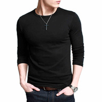 Plus Size M-3XL 2014 New casual men's long-sleeved t-shirts sexy elasticity slim fit O-neck mens T-shirt Free shipping