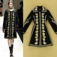 2014 autumn and winter catwalk models Major suit Heavy Industry gold thread embroidery woolen coat Women Slim lapel coats