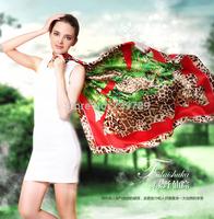 Fl silk large facecloth autumn and winter women's silk scarf mulberry silk leopard print cape