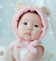 2014 New design Autumn and winter baby cap cartoon bear rabbit soft earmuffs child baby hat