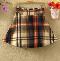 2014 autumn and winter preppy style plaid skirt women winter short woolen skirt hight waist skirt