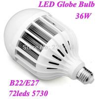 LED bulbs E27/B22 1pcs/lot 36w LED globe light warm white/white lighting High brightnessAC220-240V with 180 degree