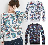 2014 Winter New 3D print hoodies Unisex Fish Print Fahsion men sweatshirt + pants women Pullovers Cotton joggers Sport Tops T-22