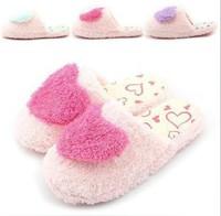 New Love 3D Heart Antislip Plush Velveteen Cotton Foot Feet Women Girl Winter Warm Home Slippers Shoes