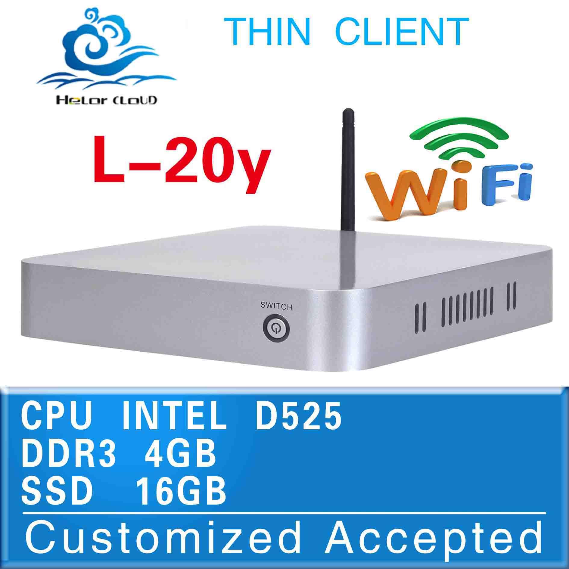 the best quality no noise mini computer l-20y mini business pc 4g ram 16g ssd Atom D525 network fan desktop thin client(China (Mainland))