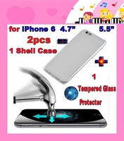 """2pcs =1 case+1 screen protector,Tempered Glass Screen Protector + Transparent Clear Shell Cover Case for iPhone 6 4.7"""" 5.5""""!"""