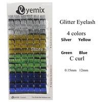 Eyemix Top Quality Glitter Eyelashes 4 Colors Individual Eyelash Extension Blink False Eye Lash Freeshipping