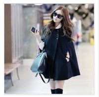 Windbreaker 2014 new wool sports fashion batwing poncho for women jacket winter coat loose black cloak cape jackets