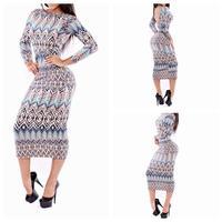 2014 Fashion Autumn Sexy Dress High Waist Long Sleeve Backless geometry printing Midi dress  YH9009 S M L Plus Size
