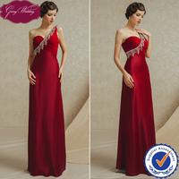 Goingwedding Real Image Sweetheart Neck Satin One Shoulder Burgundy Evening Dress Floor Length GS4904