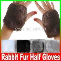 New 2014 Women Hand winter warm imitation rabbit fur Half gloves Computer fingerless maomao short gloves wholesale Free Shipping