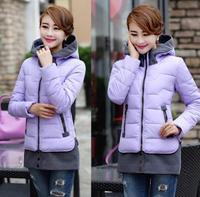 2014 Winter New Casual Office Women Cotton Jackets Plus Size XXXL Female Short Down Coats Patchwork Hooded Outdoor Parkas