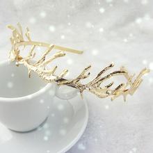 2014 New Antler Shape Rhinestone Hairbands Alloy Headband Christmas Special Hairwear Gift for Women HG010