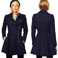 Lady Women Fashion Lapel Zipper Wool cotton Coat Slim Dress Style Trench Outwear winter
