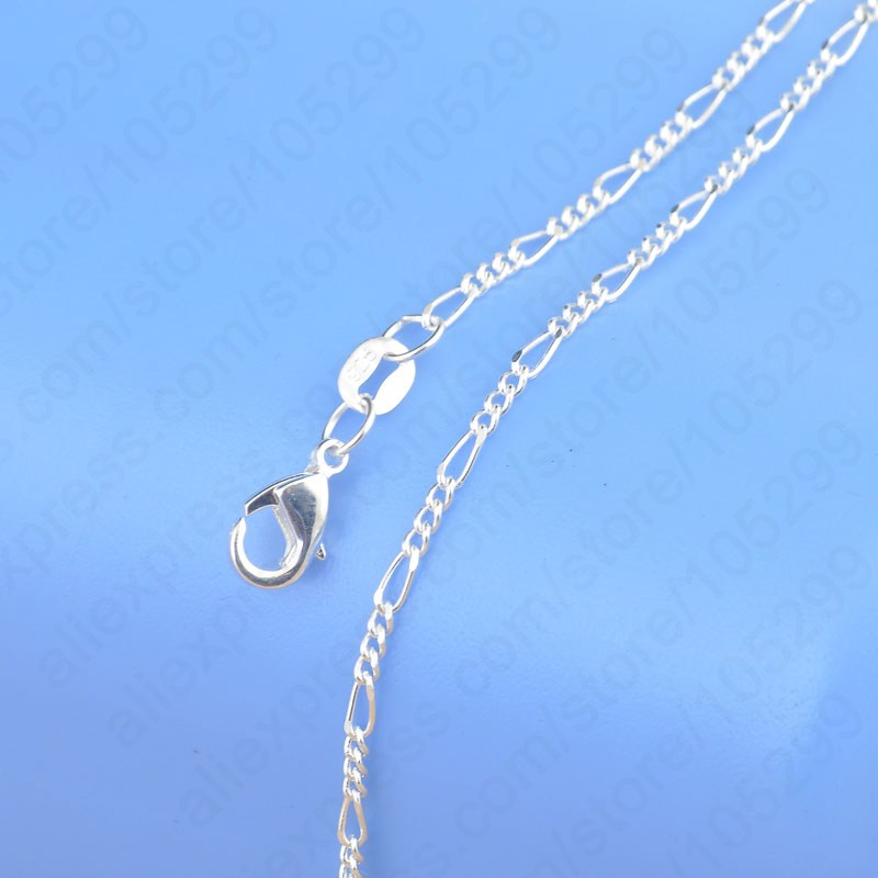 1PC Retail Free Shipping Top Quality Real 925 Sterling Silver Figaro Necklace Chains With Flexible Lobster