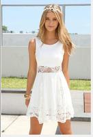 women dress 2014 summer new fashion dress solid color sleeveless chiffon dress Above Knee, Mini Preppy Style