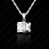 "10PCS Fashion White Gold Plated Pure 925 Sterling Silver Square Diamonds Pendant Necklace+ 18"" Singapore Chains Set"