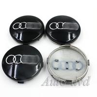 60MM Black Logo Wheel Centre Caps Cover Wheel Hub Caps Cover Fit For A4 A6L A8 Q5 Q7