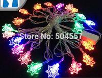 Free shipping 110-220V heptagonal shape Christmas led string Lights 4m/20leds RGB light for Holiday/Party/Decoration