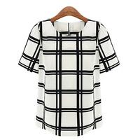 Fashion Short Sleeve Elegant Chiffon Blusas Femininas 2015 Summer Hot Europe Style Black White Plaid Shirt women's Blouses c52