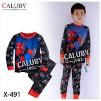 Boys Spiderman Pajamas Sets Kids Autumn -Summer Clothing Set New 2014  Children Cartoon LonSleeve Pijamas X-491