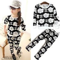 Retail 2014 autumn hot sale children fashion CC rose suit kids top + pants 2 pieces sets pink pig store