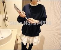 2014 new winter knit stitching was thin chiffon ruffles round neck long-sleeved dress 8315