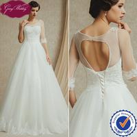Goingwedding Beautiful Bridal Ball Gown No Train See Through Open Back Wedding Dress Boat Neck Half Sleeve Wedding Dress FG14912