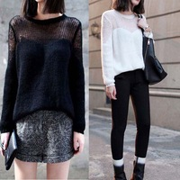 crochet fashion style in 2014 Winter Autumn new black sweater casual knitted pullovers for woman ladies cute female tricotado