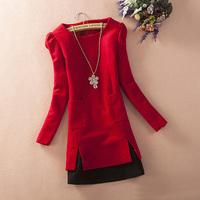 New 2014 Hot Sale Women Autumn Winter Slim Plus Size Patchwork Woolen Dress Free Shipping LY1690