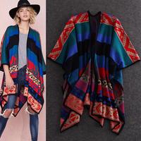 2014 High Street Fashion Women Geometric Vintage Knitted Cloak Shawl Sweater Outerwear Free Shipping F16490