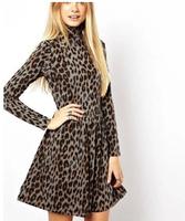 2014 New Fashion Ladies' Elegant Leopard pleated Dress Vintage Turtleneck long sleeve casual slim evening party brand dress