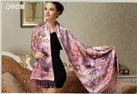 Fl fashion autumn and winter silk scarf mulberry silk quality double faced silk scarf women's silk cape
