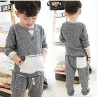 RQQ New winter suit for boys Korean children's sport suit sweater two piece set plus velvet thick Set R8031 Christmas