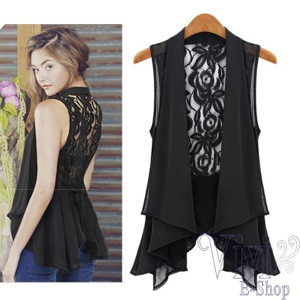 vivi- 2014 novo verão crochet vintage backless pouco mulheres casaco esvazie chiffon rendas casaquinho cintura fina x blusa sem mangas(China (Mainland))