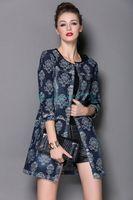 High-end Fashion Cowboy Printed Coats Women Coat Overcoat Free Shipping