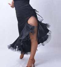 otic dance ballroom dancing Latin dance unilateral drawstring big swing legs fishbone skirt Latin exercise skirt S12058B