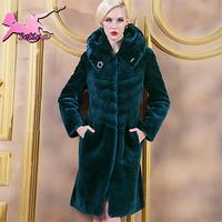 women coats Elegant Slim Fit Long Section Soft Full Pelt Sheepskin fur coat Plus Size M-4XL Thick Warm winter coat women JA01406