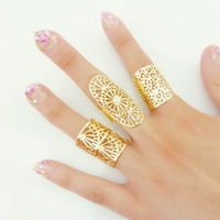 3 Mix Designs Fashion New Women Adjustable Hollow Out Ring Wide Knuckle Ring Gold/Silver Punk Pattern Lace Shield Rings 3pcs/set